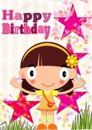 Birthday greeting card with stars
