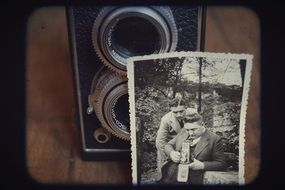 old camera and vintage picture
