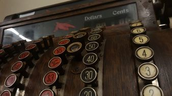 old-fashioned cash desk with buttons