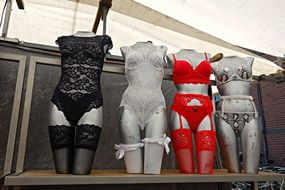 colorful lingerie on mannequins