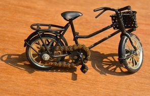 bicycle in miniature on an orange background