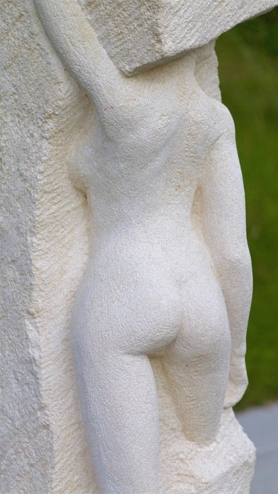 naked Woman, back view, stone figure