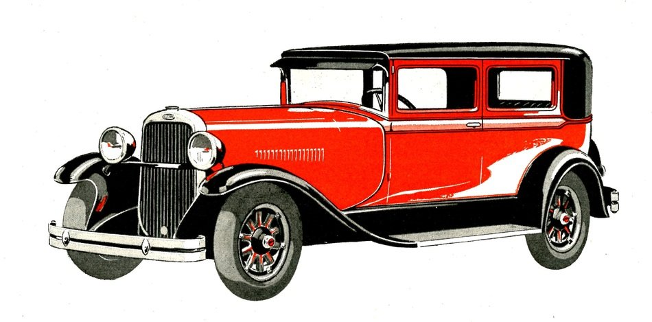 Automobile Red Old drawing