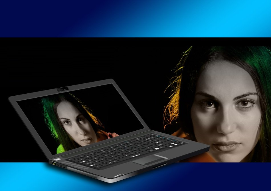 laptop monitor with a model face