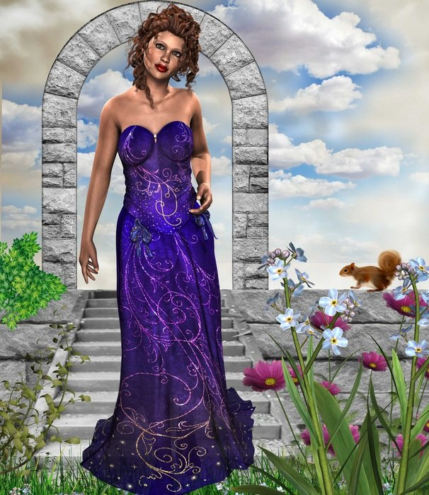 painted girl in a purple evening dress