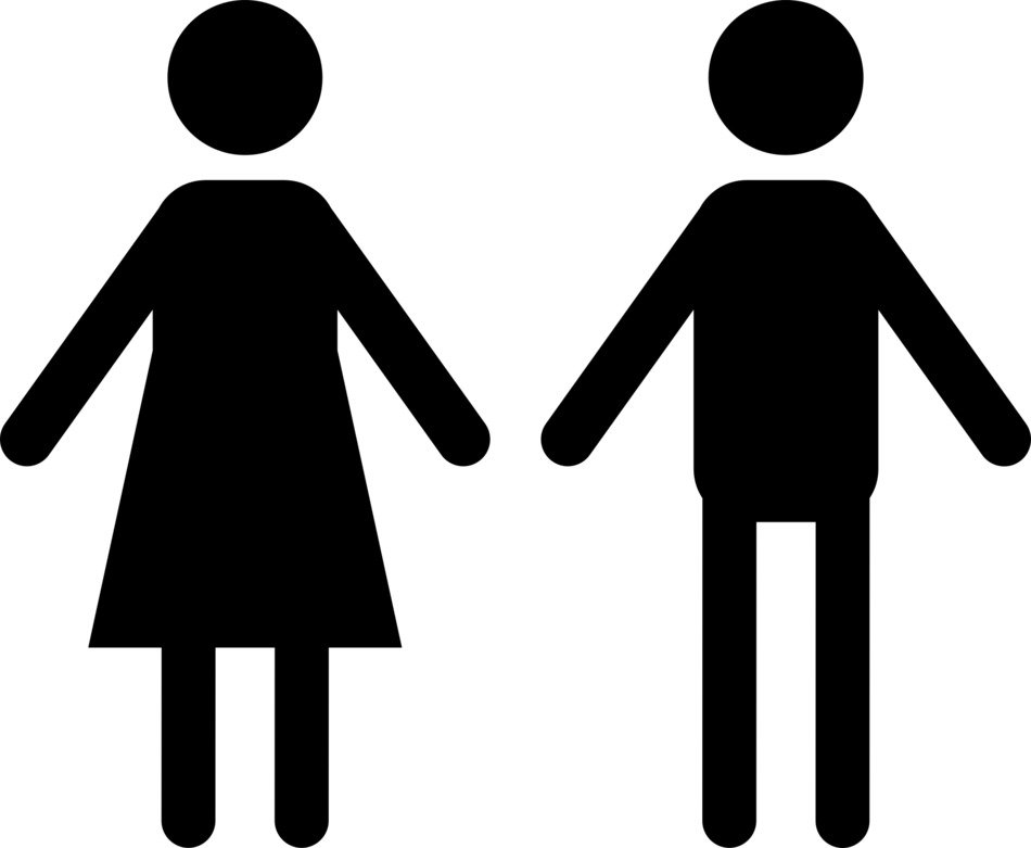 Silhouettes of the woman and man clipart