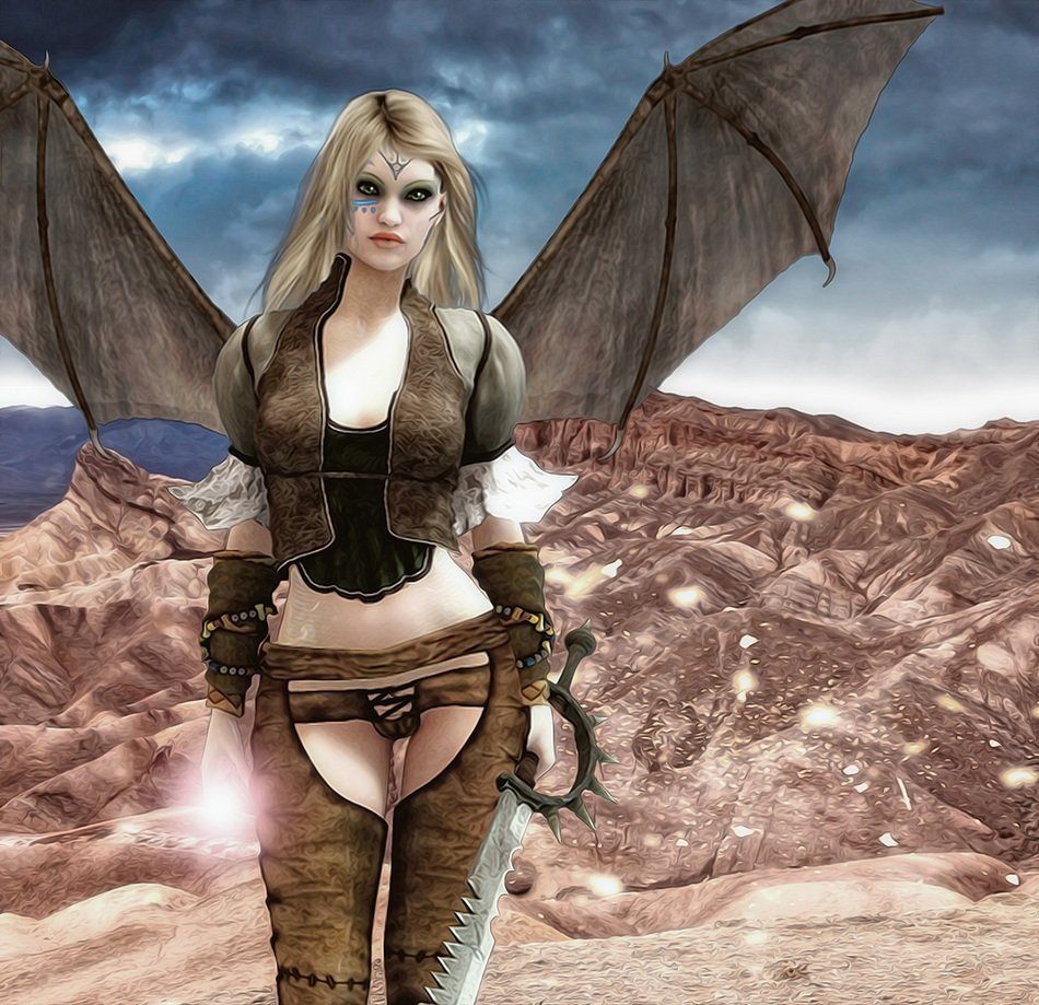 sexy young girl with black wings in rocky desert, Gothic Fantasy artwork