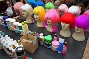 dolls with colorful wigs