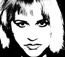 Black and white portrait of the lady clipart