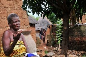 living african woman in village