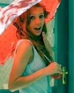 portrait of cute female with umbrella in her hands