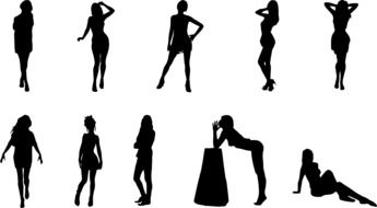 female silhouettes in different poses
