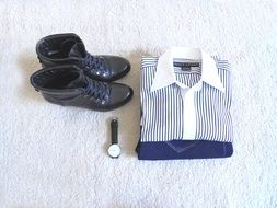 daniel wellington watch, shirt and ralph shoes