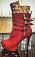 fashionable red high-heeled boots