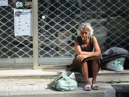 Homeless Sad Woman