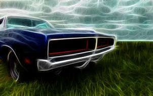 Dodge Charger poster drawing