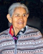 Old grey haired peruvian Woman, portrait