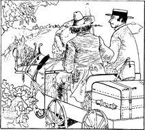 antique sketch of men in the cart