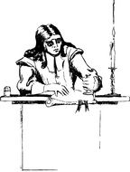 black and white drawing of a man at the table