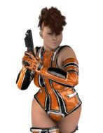 woman in an orange suit with a gun on a white background