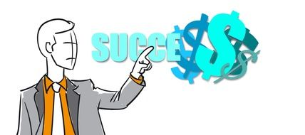 Businessman pointing to Success lettering with Dollar signs, drawing