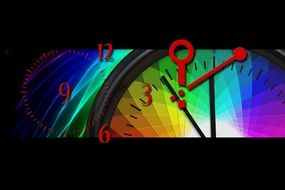 colored clock with arrows