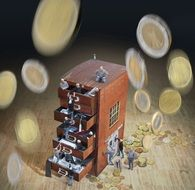dropping coins and people climbing chest of drawers