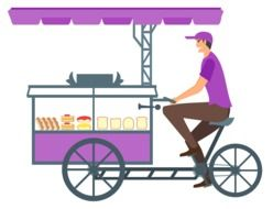 drawing seller of bread and cakes on a bicycle