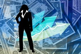 woman silhouette on banknotes background