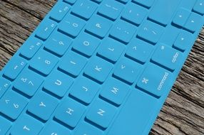 blue keyboard for a computer