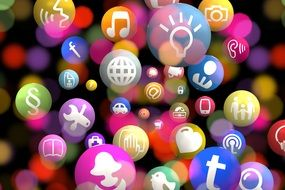 A lot of colorful social network icons