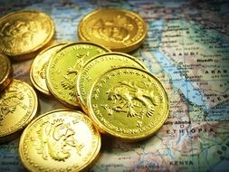 gold coins lie on the world map