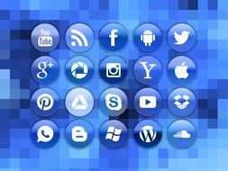 blue icons of social media
