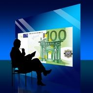Silhouette of man looking at euro