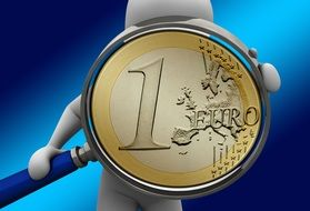 person with Euro coin in Magnifying Glass frame, 3d rendering