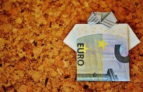 folded euro currency on a background of yellow leaves