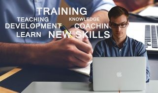 Businessman and text training neaching knowledge development coaching learn new skills
