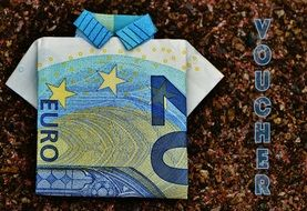 a voucher with the image of the shirt of the euro banknotes