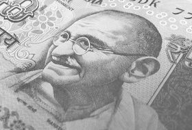 Indian rupee in black and white image