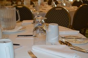 Table setting for business conference in restaurant