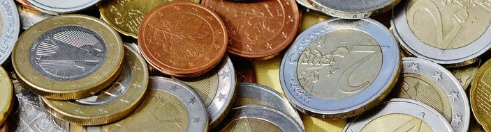 Euro coins of different denominations