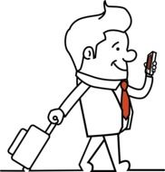 drawing of a man with a suitcase and a smartphone