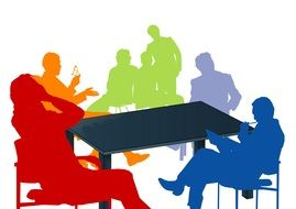 colored silhouettes of people at the table