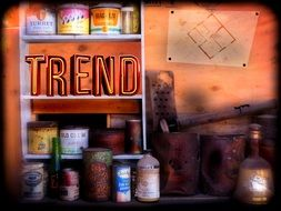 trend inscription on a shelf with goods on a rac