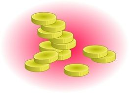 drawing of gold coins on a pink background
