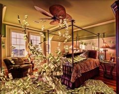 drawn whirlwind of money in a hotel room