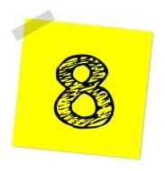 Yellow note with eight number on it