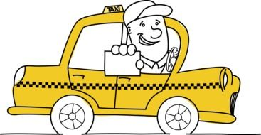 cartoon Taxi Driver holds Business Card