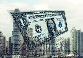 usa Dollar bill above cityscape, collage