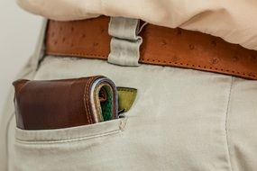 Wallet with Cash in back Pocket